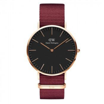 DANIEL WELLINGTON Classic Black Roselyn - DW00100269,  Rose Gold case with Bordeaux Fabric Strap
