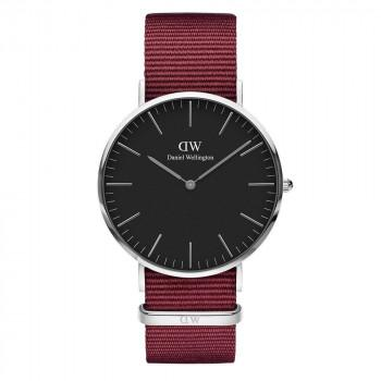 DANIEL WELLINGTON Classic Black Roselyn - DW00100270,  Silver case with Bordeaux Fabric Strap