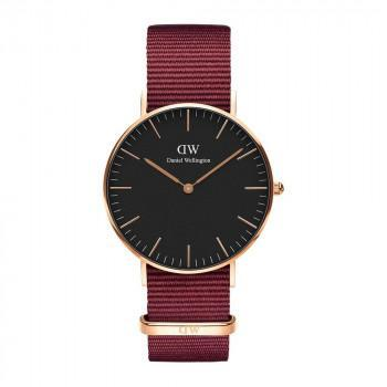 DANIEL WELLINGTON Classic Black Roselyn - DW00100273,  Rose Gold case with Bordeaux Fabric Strap