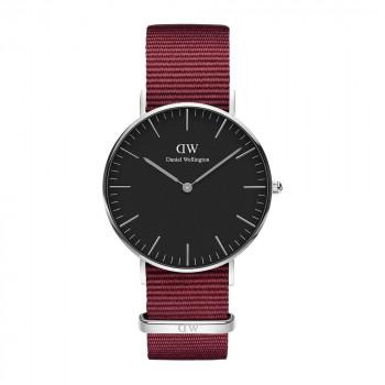 DANIEL WELLINGTON Classic Black Roselyn - DW00100274,  Silver case with Bordeaux Fabric Strap