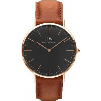 DANIEL WELLINGTON Classic Black Durham - DW00100126, Rose Gold case with Brown Leather Strap