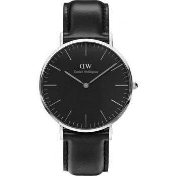 DANIEL WELLINGTON Classic Black Sheffield - DW00100133, Silver case with Black Leather Strap