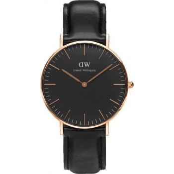 DANIEL WELLINGTON Classic Black Sheffield - DW00100139, Rose Gold case with Black Leather Strap