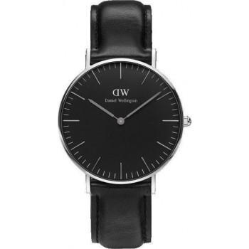 DANIEL WELLINGTON Classic Black Sheffield - DW00100145, Silver case with Black Leather Strap