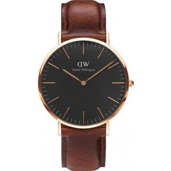DANIEL WELLINGTON Classic Black St Mawes - DW00100124, Rose Gold case with Brown Leather Strap