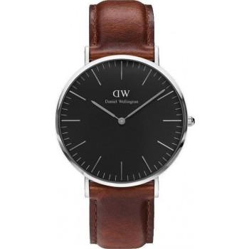 DANIEL WELLINGTON Classic Black St Mawes - DW00100130, Silver case with Brown Leather Strap