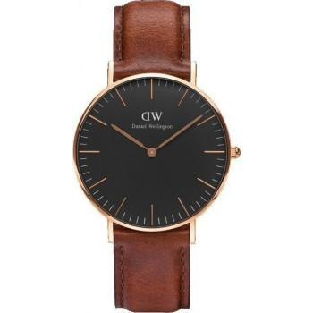 DANIEL WELLINGTON Classic Black St Mawes - DW00100136, Rose Gold case with Brown Leather Strap