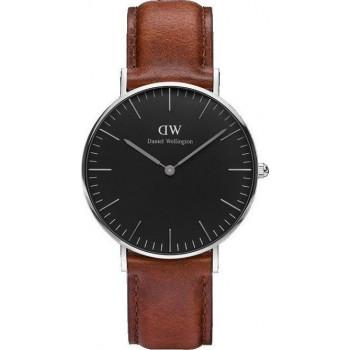 DANIEL WELLINGTON Classic Black St Mawes - DW00100142, Silver case with Brown Leather Strap