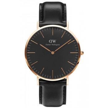 DANIEL WELLINGTON Classic Black Sheffield - DW00100127, Rose Gold case with Black Leather Strap