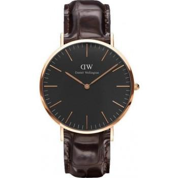 DANIEL WELLINGTON Classic Black York - DW00100128, Rose Gold case with Brown Leather Strap