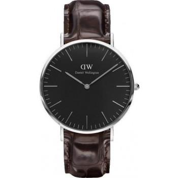DANIEL WELLINGTON Classic Black York - DW00100134, Silver case with Brown Leather Strap