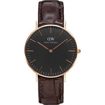 DANIEL WELLINGTON Classic Black York - DW00100140, Rose Gold case with Brown Leather Strap