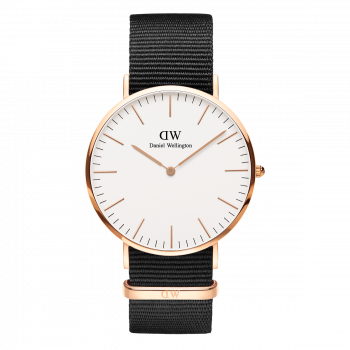 DANIEL WELLINGTON Classic Cornwall - DW00100257, Rose Gold case with Black Fabric Strap
