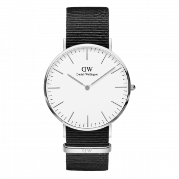 DANIEL WELLINGTON Classic Cornwall - DW00100258, Silver case with Black Fabric Strap