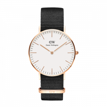 DANIEL WELLINGTON Classic Cornwall - DW00100259, Rose Gold case with Black Fabric Strap