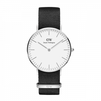 DANIEL WELLINGTON Classic Cornwall - DW00100260, Silver case with Black Fabric Strap