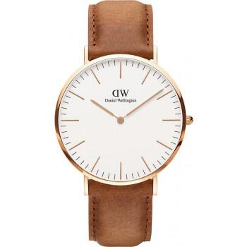 DANIEL WELLINGTON Classic Durham - 00100109DW Rose Gold case, with Brown Leather Strap