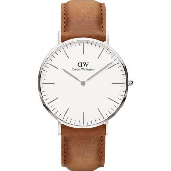 DANIEL WELLINGTON Classic Durham - 00100110DW Silver case, with Brown Leather Strap