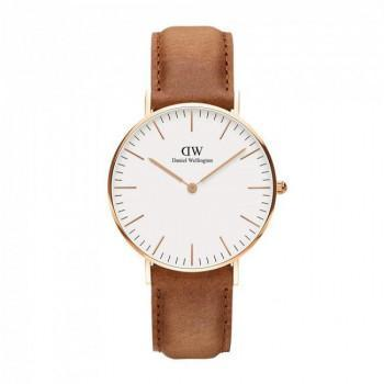 DANIEL WELLINGTON Classic Durham - 00100111DW Rose Gold case, with Brown Leather Strap