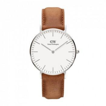 DANIEL WELLINGTON Classic Durham - 00100112DW Silver case, with Brown Leather Strap