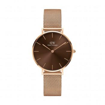 DANIEL WELLINGTON Classic Petite Amber - DW00100477,  Rose Gold case with Stainless Steel Bracelet