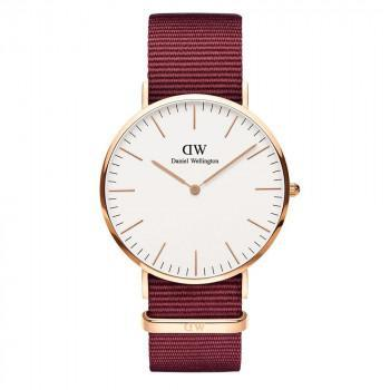 DANIEL WELLINGTON Classic Roselyn - DW00100267,  Rose Gold case with Bordeaux Fabric Strap