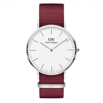 DANIEL WELLINGTON Classic Roselyn - DW00100268,  Silver case with Bordeaux Fabric Strap