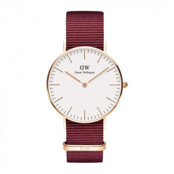 DANIEL WELLINGTON Classic Roselyn - DW00100271,  Rose Gold case with Bordeaux Fabric Strap