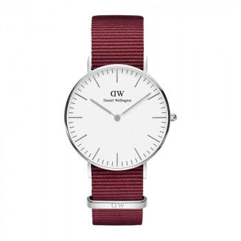DANIEL WELLINGTON Classic Roselyn - DW00100272,  Silver case with Bordeaux Fabric Strap