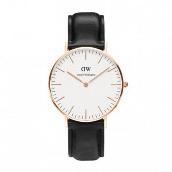 DANIEL WELLINGTON Classic Sheffield - 0508DW Rose Gold Plated case, with Black Leather strap