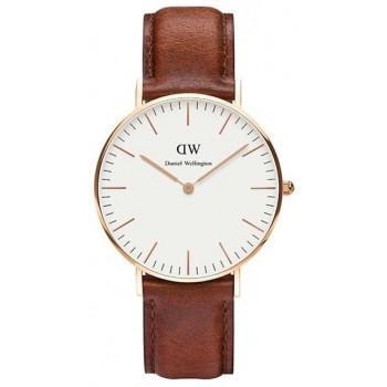 DANIEL WELLINGTON Classic St Mawes - 0507DW Rose Gold Plated case, with Brown Leather strap