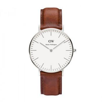 DANIEL WELLINGTON Classic St Mawes - 0607DW Silver case, with Brown Leather strap