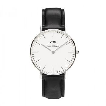 DANIEL WELLINGTON Classic Sheffield - 0608DW Silver case, with Black Leather strap