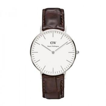 DANIEL WELLINGTON Classic York - 0610DW Silver case, with Brown Leather strap