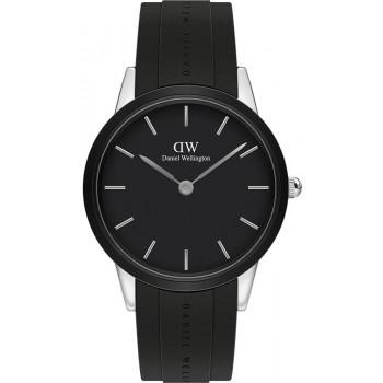 DANIEL WELLINGTON Iconic Link Motion- DW00100436,  Silver case with Black Rubber Strap
