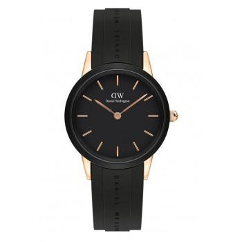 DANIEL WELLINGTON Iconic Link Motion - DW00100426,  Rose Gold case with Black Rubber Strap