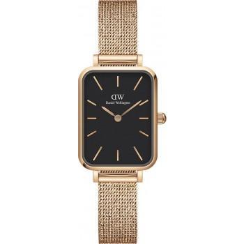 DANIEL WELLINGTON Quadro Pressed Melrose - DW00100432,  Rose Gold case with Stainless Steel Bracelet