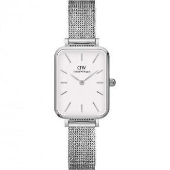 DANIEL WELLINGTON Quadro Pressed Sterling - DW00100438,  Silver case with Stainless Steel Bracelet