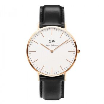 DANIEL WELLINGTON Sheffield - 0107DW Rose Gold Plated case, with Black Leather strap