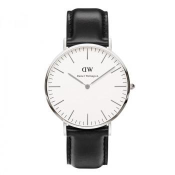 DANIEL WELLINGTON  Sheffield - 0206DW Silver case, with Black Leather strap