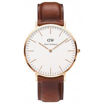 DANIEL WELLINGTON St. Mawes - 0106DW Rose Gold Plated case, with Brown Leather strap