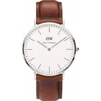 DANIEL WELLINGTON St. Mawes - 0207DW Silver case, with Brown Leather strap