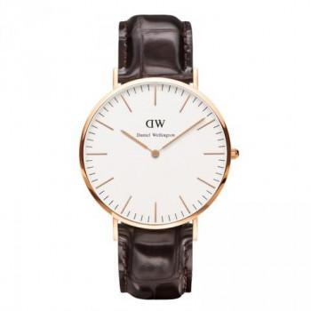 DANIEL WELLINGTON Classic York - 0111DW Rose Gold Plated case, with Brown Leather strap