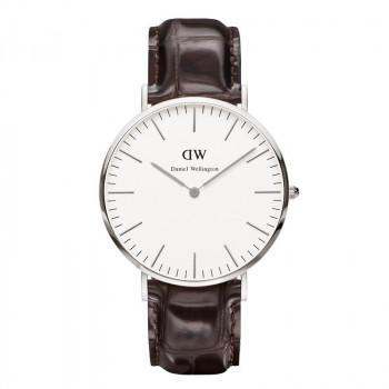 DANIEL WELLINGTON Classic York - 0211DW Silver case, with Brown Leather strap