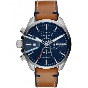 DIESEL MS 9  Chronograph - DZ4470   Silver case with Brown Leather Strap