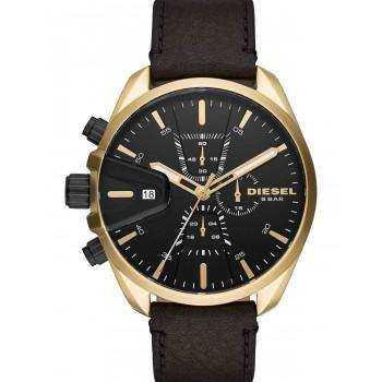 DIESEL MS9  - DZ4516  Gold case with Black Leather Strap