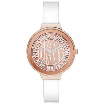 DKNY Astoria - NY2802  Rose Gold case with Silver Leather Strap
