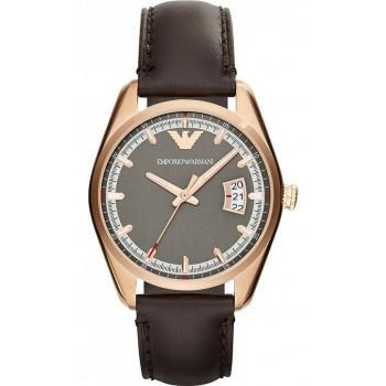 EMPORIO ARMANI - AR6024 Rosegold Case with Brown Leather Strap