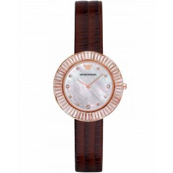 EMPORIO ARMANI Dress - AR7433 Rose Gold case with Brown Leather Strap