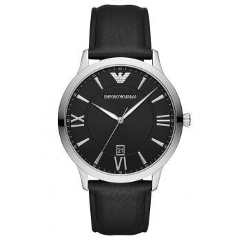 EMPORIO ARMANI Giovanni - AR11210  Silver case with Black Leather Strap